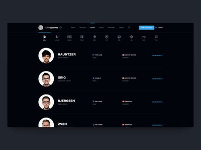 TSM Website Concept - Teams riot games player players league of legends lol tsm concept solomid tsm team solomid esports team esports featured video intro video roster team teams case study ales nesetril