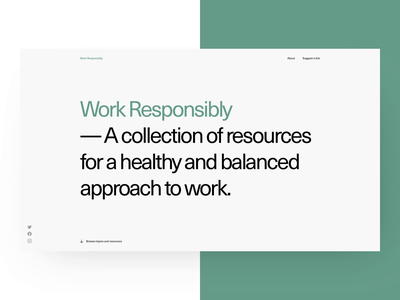 Work Responsibly - Homepage landing page prague anxiety motivation sleep stress focus healthy work balance strv ales nesetril calm mindfulness wellness wellbeing health minimal site wireframe productivity work responsibly