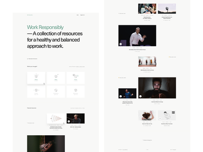 Work Responsibly - Full Size worklife workspace work ethics collection resources minimal website ales nesetril work responsibly productivty mindfulness wellness wellbeing health stress anxiety landing page