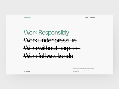 Work Responsibly - About productivity motivation anxiety focus sleep stress ales nesetril clean layout wallpapers story about us page minimal about mindfulness awwwards typography work responsibly about us about section about page about