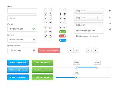 White Ui Kit Freebie white ui kit free freebie dropdown validation checkbox switch radio arrows buttons handler clean shadows grey