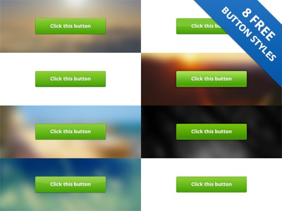 8 Free Button Styles (psd) free button styles buttons green shadows freebie download for free