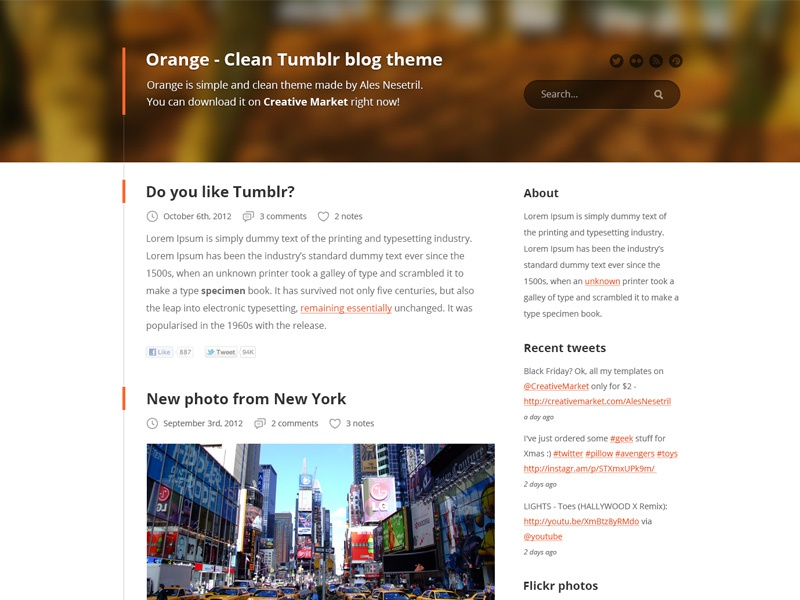 Clean Tumblr blog PSD theme by Ales Nesetril on Dribbble