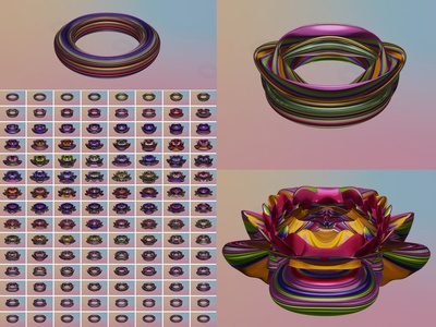 Turning Torus Inside Out Through The Fourth Dimension animation creative ui texture metal cgi flower art topology 4d math render blender 3d