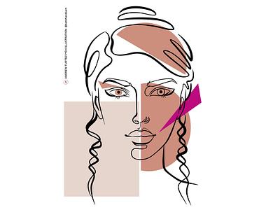 Minimalist Face 001 human young drawing beauty head hair minimalist line continuous portrait woman face colors beautiful girl fashion design art illustration minimalism