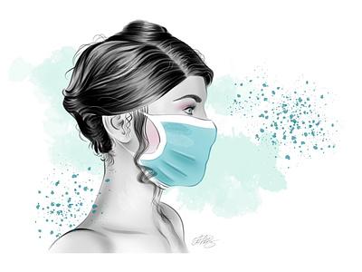 Study of a woman's head. Release 2020. 2020 braces medical mask covid19 beautiful girl fashion illustration minimalism
