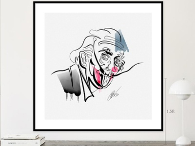 """With One Line """"In Search Of The Symbol Of Our Time"""" paper vatercolor brush minimalism saatchiart design album art continuos line joker movie albert einstein salvador dali"""
