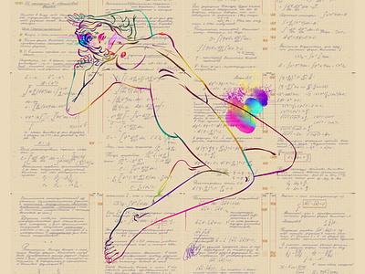 On Measurements In Quantum Physics, Compendium. Ink. compedium texture retro woman layout erotic physics drawing illustration minimalism minimalist girl fashion design art