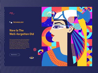 Vector Illustration and Graphic Design For A Technology Magazine blue colorful trendy 2020 design art designer vr face head modern color technology graphic flat illustrator vetor egypt portrait print design