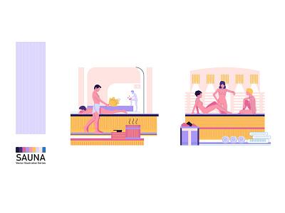 People in the sauna. From flat vector illustration series. woman illustration man flat design health naked sauna peoples series art series people illustration flat minimalism