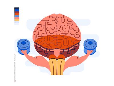 Brain training concept, flat cartoon style intellect biology knowledge creativity fitness character bar education medical memory exercise test train iq mind 3d head anatomy human brain