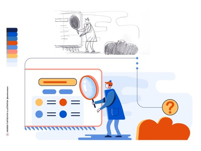 Search The Web Concept Vector + Sketch magnify glass loupe sherlock holmes spy art web search illustration minimalism