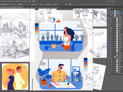 This is what my workspace looks like while working woman man flowers gardening artist bionic medicine fashion active people minimalist style flat prosthesis disability hand drawn drawing illustration art minimalism