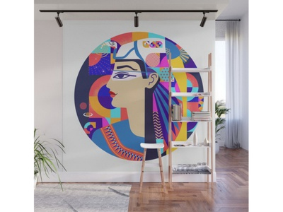 Design On The Product and On The Wall Looks Different virtual internet intelligence ai waves tech app microphone communication businesswoman copy space portrait profile recognition voice ancient egypt contcept layout woman portrait ancient
