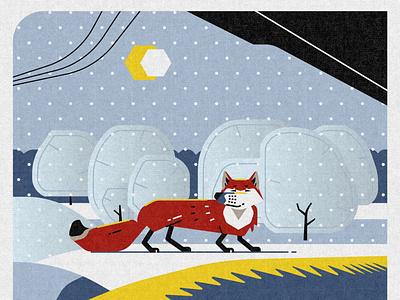 Fox nature fores texture flat animals design minimalism illustration