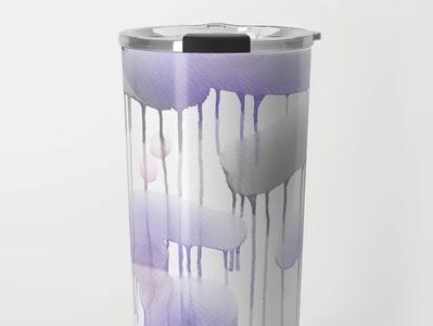 """Rainy theme 17"" travel mug design for Society6"