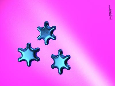 Snowflake Balloons 3D Render