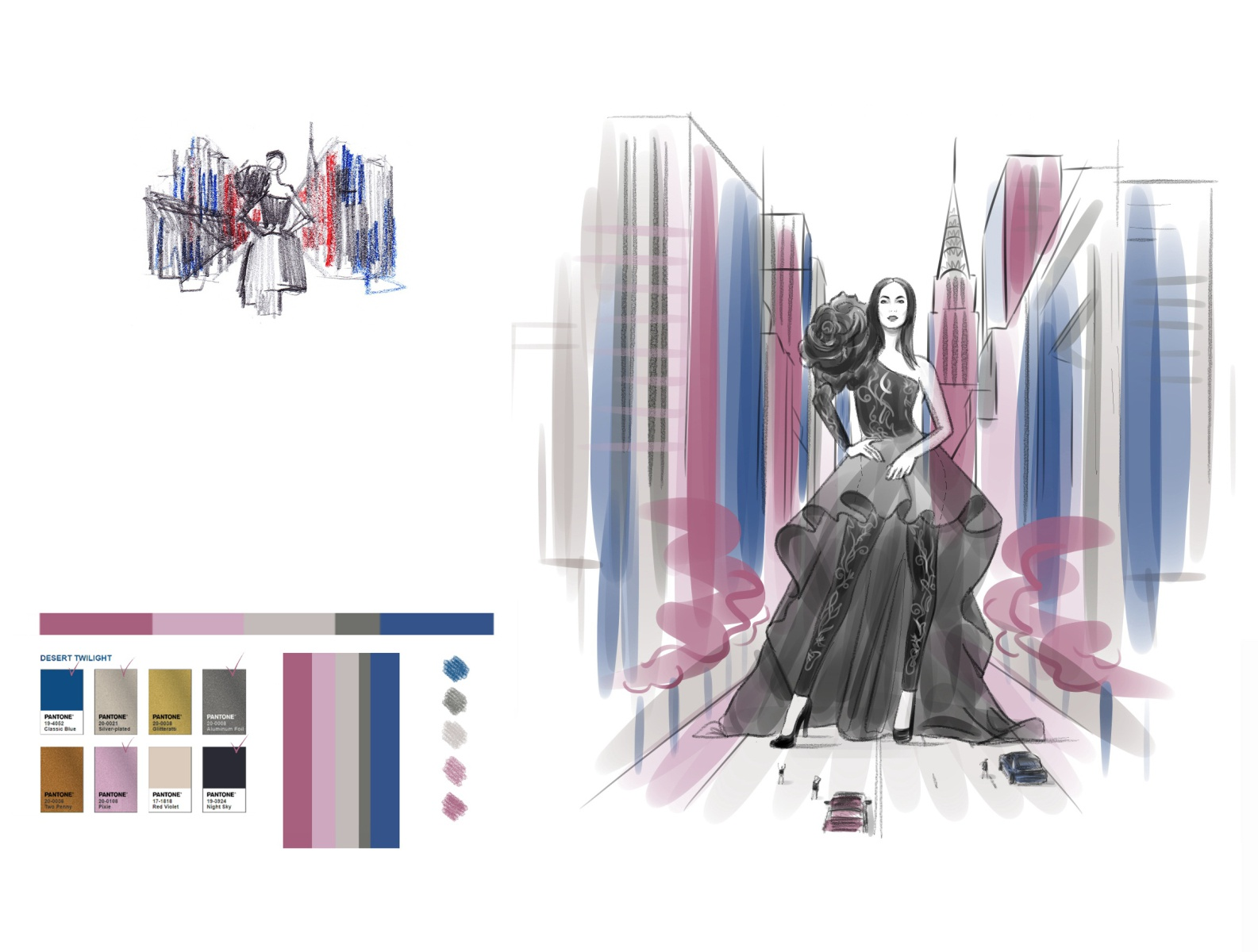 Fashion Illustration In Progress Color Scheme By Andrew Turtsevych On Dribbble