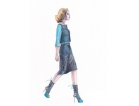Fashion Sketch, Watercolor Pencil, From Archive