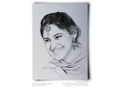 A Beautiful Smile-Pencil & Charcoal Portrait - Kamal Nishad