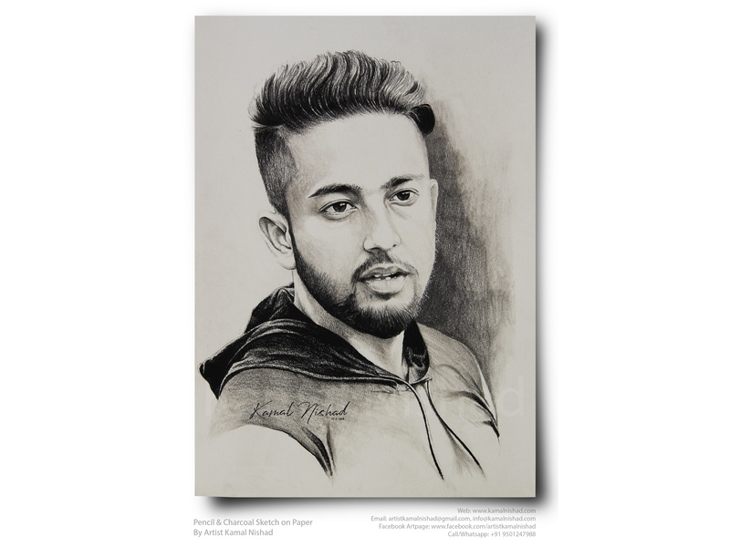 A HANDSOME GUY -Pencil & Charcoal Sketch by Artist Kamal Nishad portrait sketch portrait art sketchart handsome boy charcoal drawing pencil drawing pencil sketch pencil art hand drawn sketch sketch kamalnishad