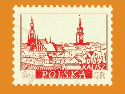 Projekt tapety inspirowanej starym znaczkiem.
