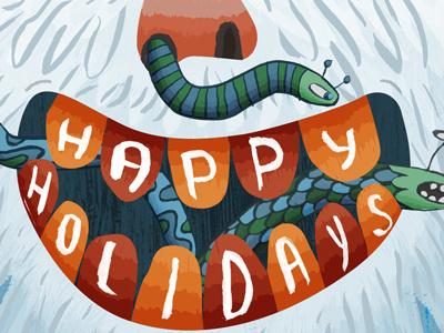 Yeti Happy Holidays yeti worms holiday card