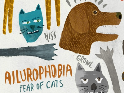 Ailurophobia fear cats dog hand-lettering