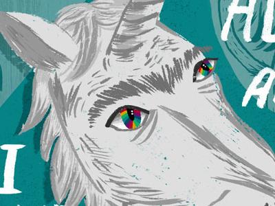Unicorn postcard unicorn typography