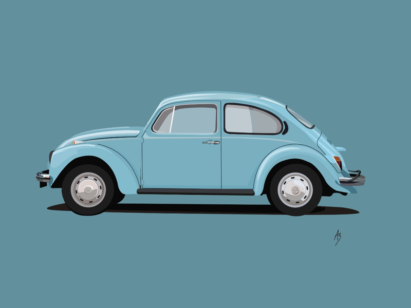 Volkswagen beetle vector car blue oldtimer beetle volkswagen classic illustration digital art
