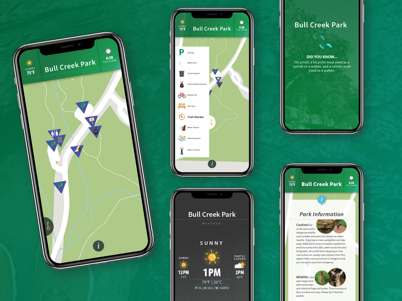 Bull Creek Hiking Guide App illustration app design ux ui