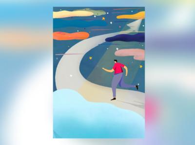 Running to the top ipad procreate design illustration branding