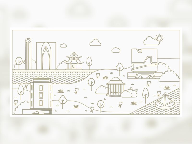 University Landscape line university vector illustration branding design