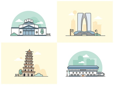 Suzhou Landmark illustration lineal china suzhou building landmark graphic design