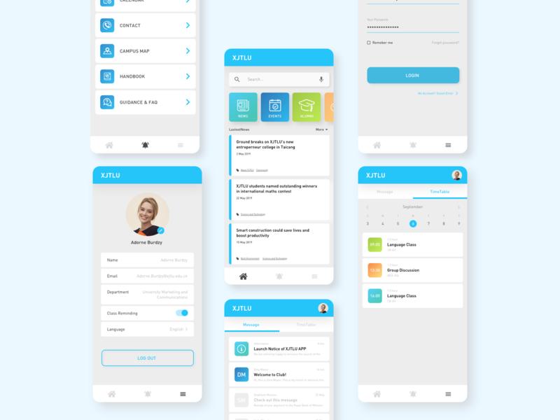 UI Design for University App interactiondesign interaction user inteface flame vector art uidesign app ux-ui uiux prototype webdesign web university mockup ui branding design