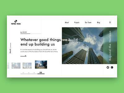 Tetra-Tech Architecture Website concept simple interaction design illustration clean blog building architecture landing page concept logo design web design webpage website uxui landing page