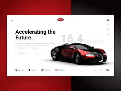 Bugatti Webpage Concept ui web brand cool car sports car bugatti icon blog interaction design clean design typography uxui ux web design landing page concept webpage website landing page