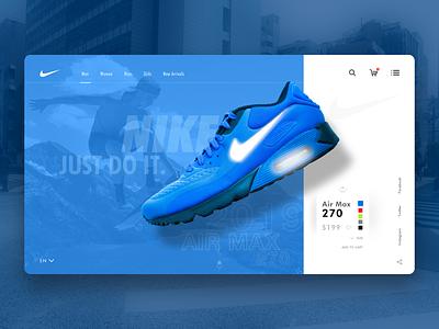 Nike Webpage concept blog ux landing page concept interaction design design web design clean nike air max shoes nike branding logo uxui webpage website landing page