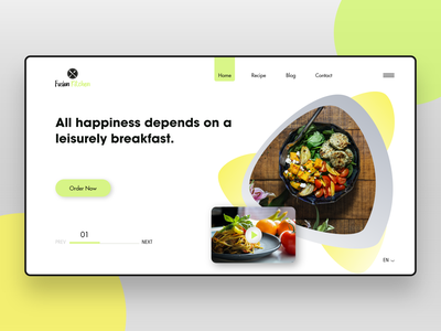 Fusion Kitchen Webpage Concept recipe food minimal design ux gallery flat app blog landing page concept web design branding logo interaction design clean ui webpage website uxui landing page