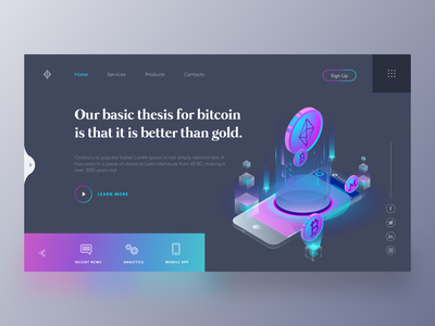 Bitcoin Webpage Concept ux flat icon landing page concept finance uidesign interfacedesign clean bitcoin vector branding illustration interaction design design logo uxui website web design webpage landing page