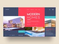 Moderne Webpage Concept clean red minimal illustration ux adobe modern interiordesign homes webpage branding ui design architecture logo interaction design website web design uxui landing page