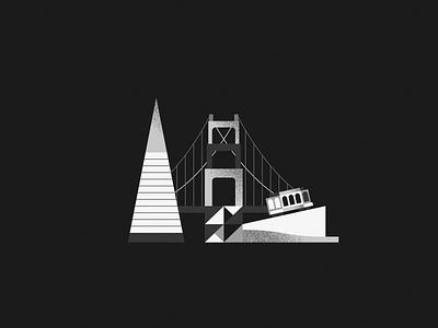 City vector city tram golden gate illustration