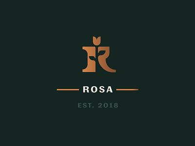 Rosa premium gold r type letter identity rose branding