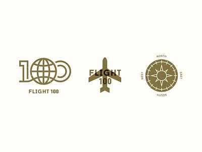 Flight 100 Brand Elements event airline world globe plane airplane compass type identity logo 100 flight branding