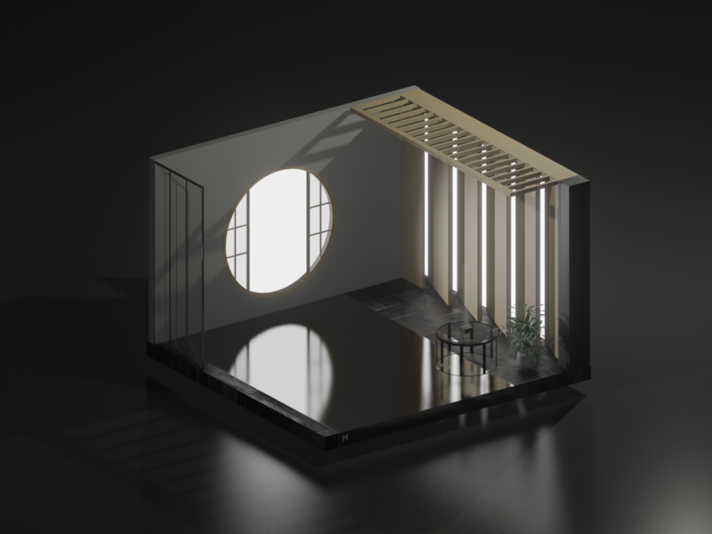 Zen room white interior japan minimal c4d cinema4d isometricart isometric design illustration 3d 3dcg blender3d blender