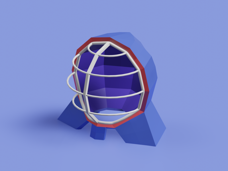 Kendo face lowpoly3d lowpoly interior japan minimal c4d cinema4d isometricart isometric design illustration 3d 3dcg blender3d blender