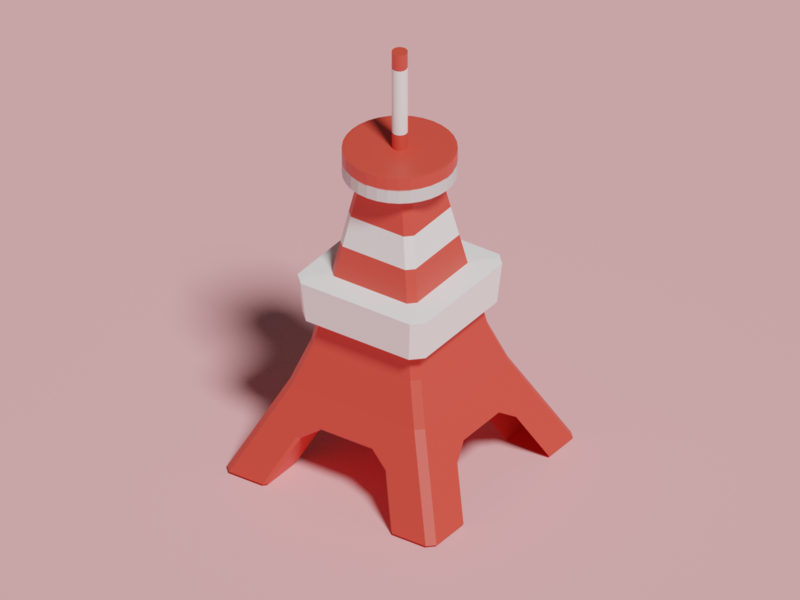 Tokyo tower icon lowpoly3d lowpoly interior japan minimal c4d cinema4d isometricart isometric design illustration 3d 3dcg blender3d blender