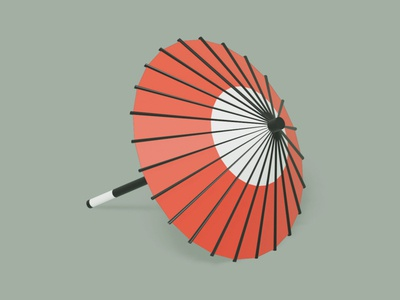 Japanese umbrella lowpoly3d lowpoly interior japan minimal c4d cinema4d isometricart isometric design illustration 3d 3dcg blender3d blender