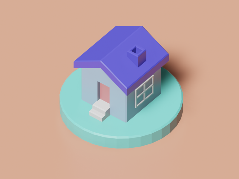 House icon lowpoly3d lowpoly interior japan minimal c4d cinema4d isometricart isometric design illustration 3d 3dcg blender3d blender