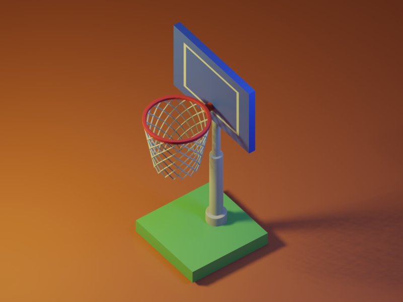 Basket goal lowpoly3d lowpoly interior japan minimal c4d cinema4d isometricart isometric design illustration 3d 3dcg blender3d blender